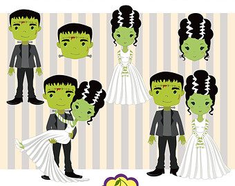 Frankenstein and his images. Bride clipart halloween