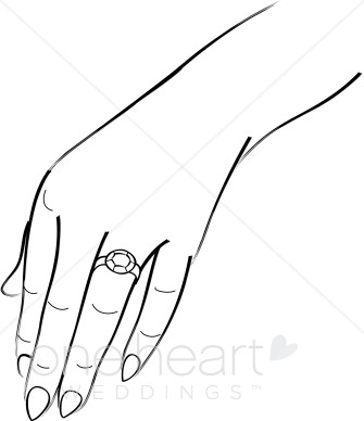 Hand with ring wedding. Bride clipart hands