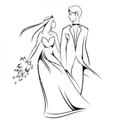 Bride clipart line drawing. Iclipart black and white