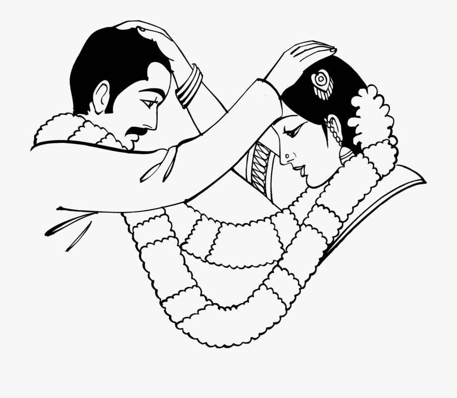 Indian marriage wedding black. Bride clipart line drawing