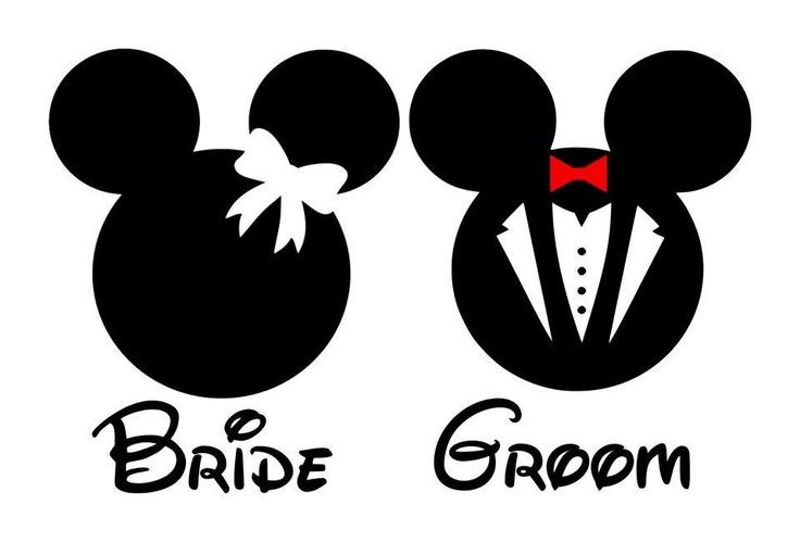 Bride clipart logo. Groom mickey mouse pencil