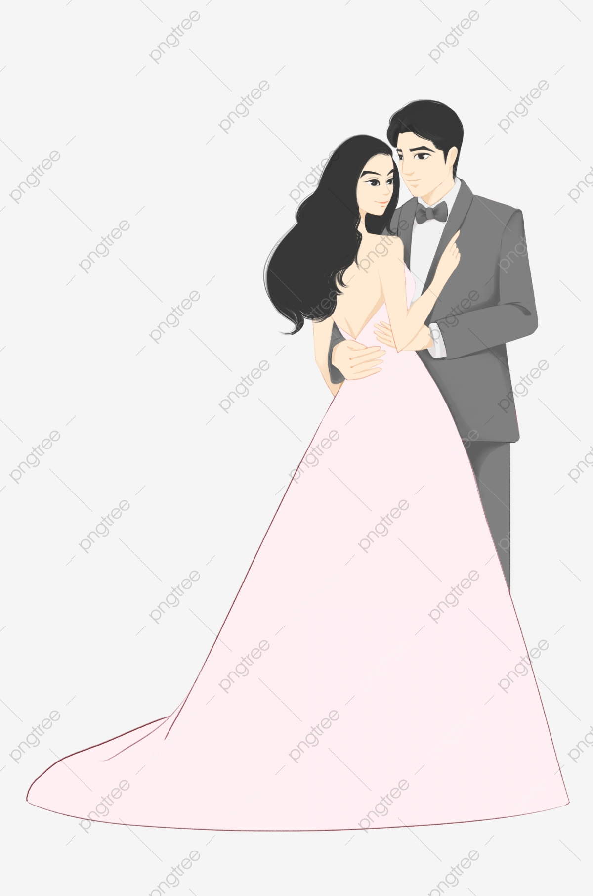 Hand painted wedding and. Bride clipart modern bride