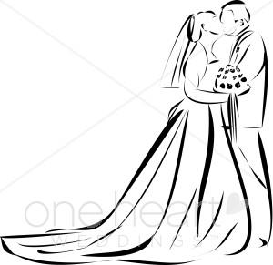 Wedding kiss bridal images. Bride clipart outline