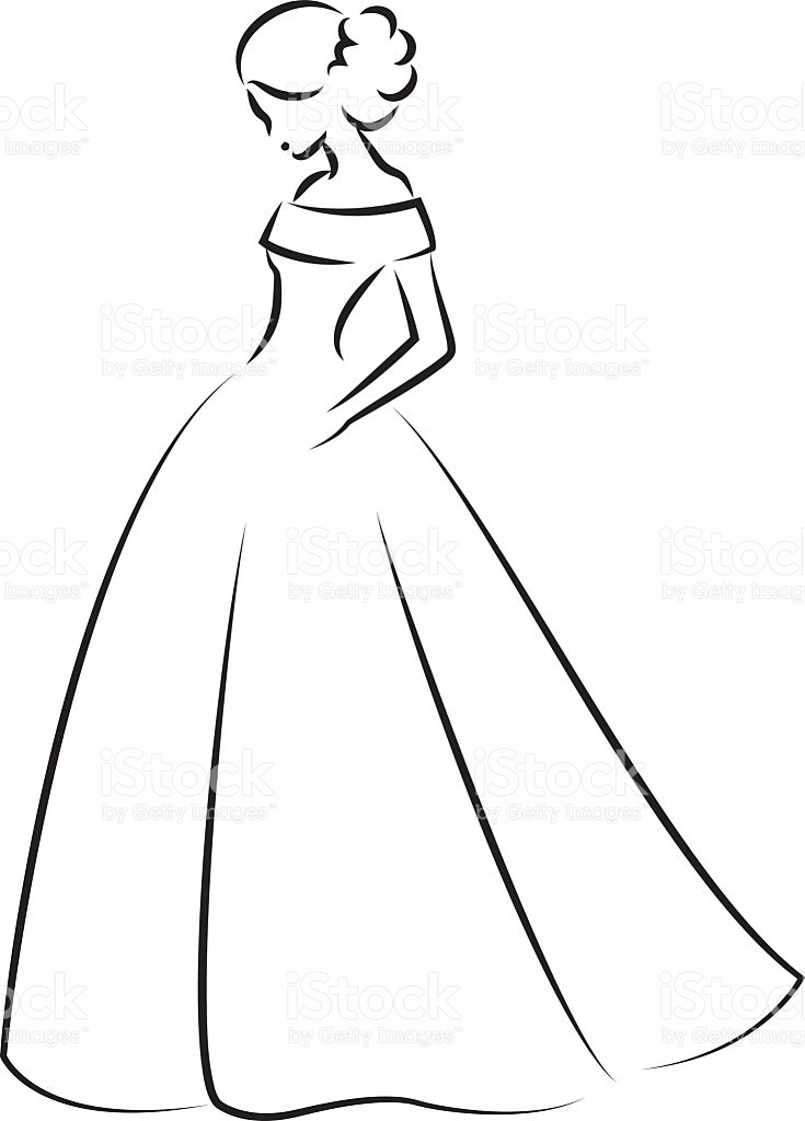 Wedding dress mini bridal. Bride clipart outline