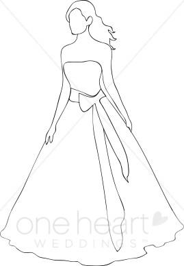 Bridal clipart outline. Bride