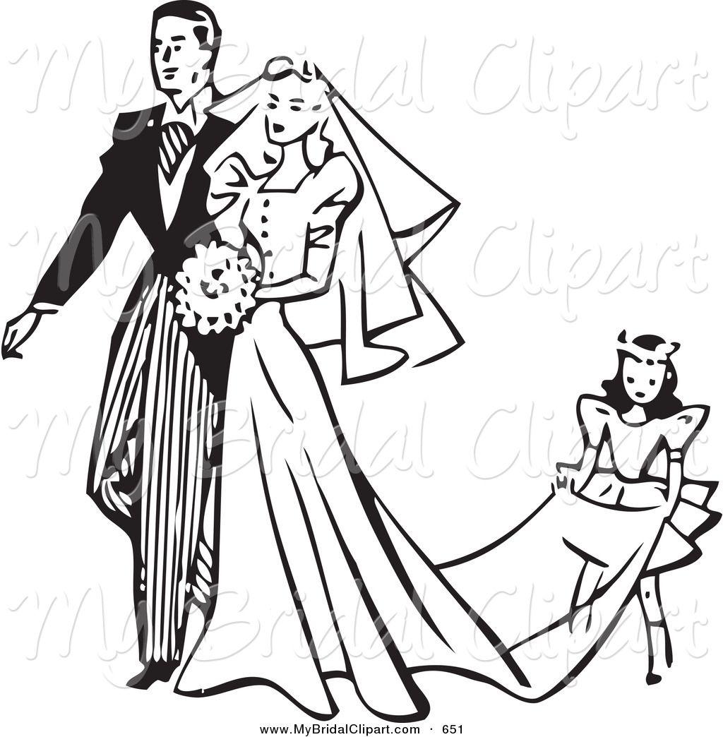 Wedding dress panda free. Bride clipart outline
