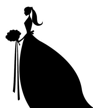 Bridal clipart. Silhouette of a bride