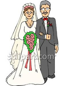 Being walked the isle. Bride clipart walk down aisle