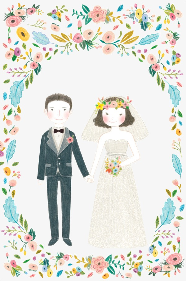 Wedding couple cartoon flower. Bride clipart watercolor