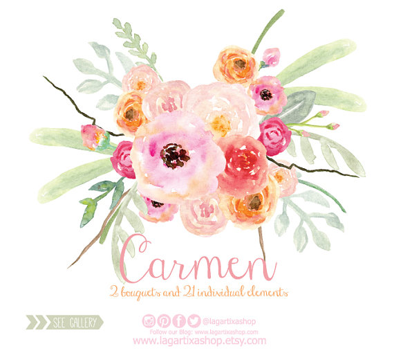 Floral png wedding bouquet. Bride clipart watercolor