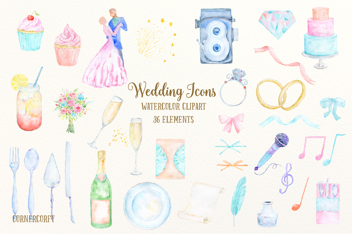 Bride clipart watercolor. Wedding icons by cornercroft
