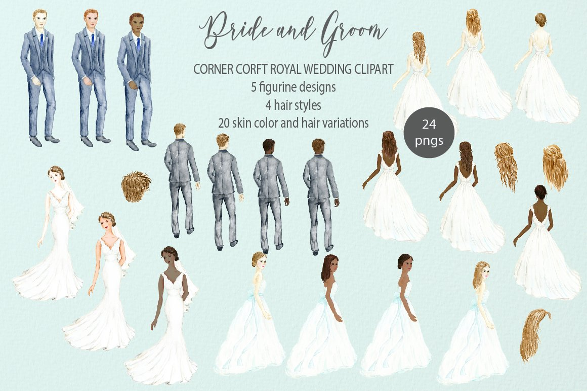 Bride clipart watercolor. And groom figurine wedding