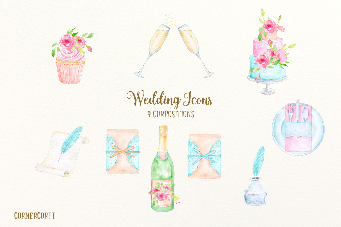 Wedding icons by cornercroft. Bride clipart watercolor