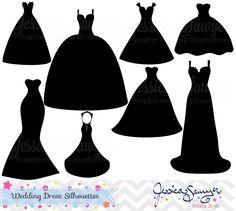 Dress free best siluete. Bride clipart wedding gown