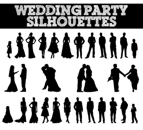 Party silhouettes bridesmaid groomsman. Bride clipart wedding reception