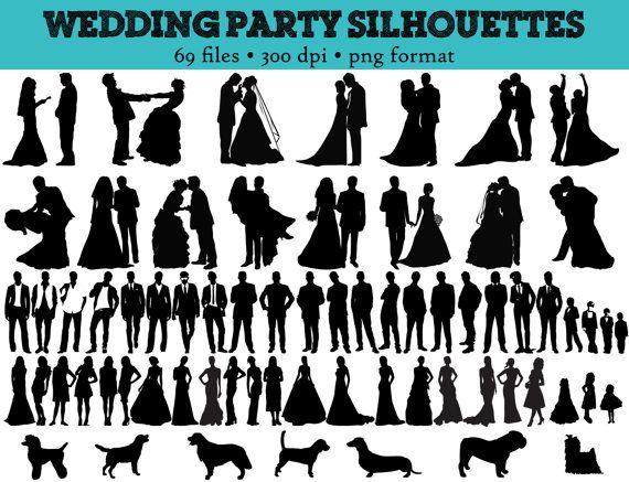 party silhouettes bridesmaid. Bride clipart wedding reception
