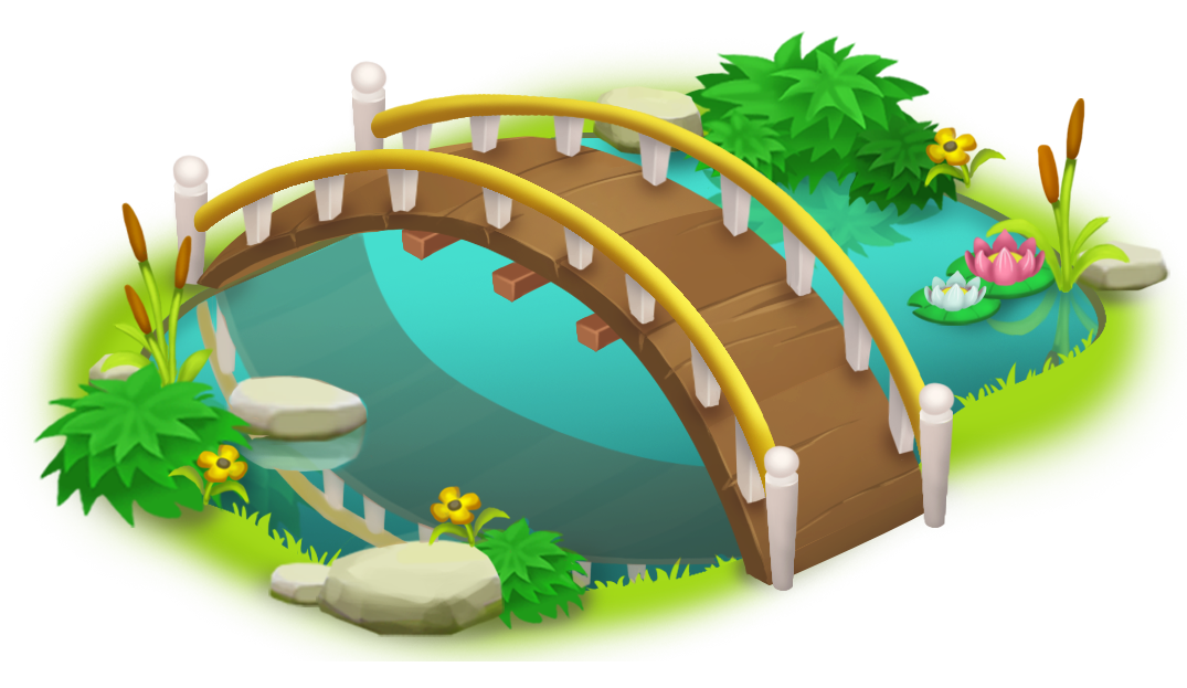 Bridge and pond png. Water clipart simple