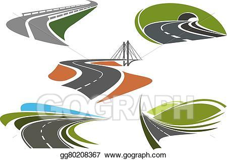 Bridge clipart abstract. Vector illustration asphalt highway