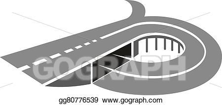 Vector art highway road. Bridge clipart abstract