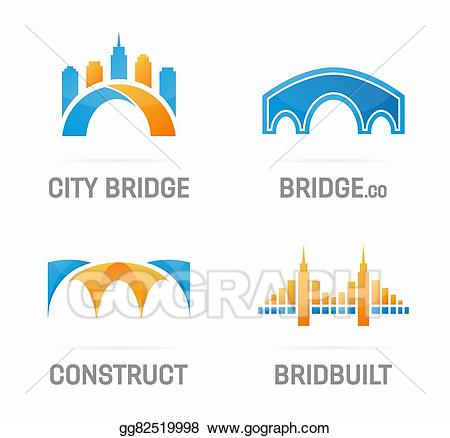 Vector set of logo. Bridge clipart abstract