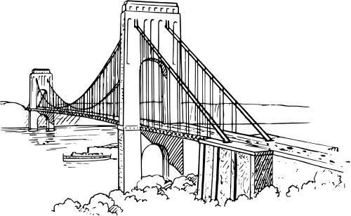 Bridge clipart black and white. Clip art free images