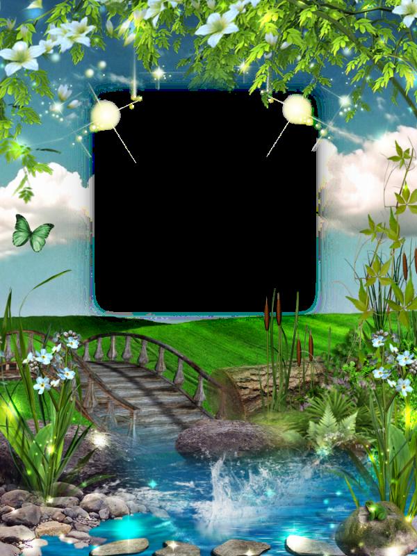Frame clipart garden. Transparent photo with bridge