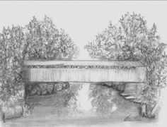 Bridge clipart covered bridge. Sketches and drawings colouring