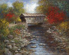 Oil paintings of bridges. Bridge clipart covered bridge