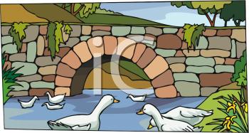 Bridge clipart creek. Of a ducks in