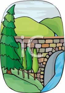Stone arch over a. Bridge clipart creek