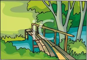 Wooden over a royalty. Bridge clipart creek