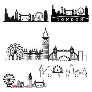 London skyline with different. Bridge clipart cut out