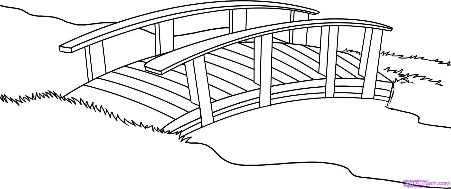Japanese garden coloring page. Bridge clipart easy