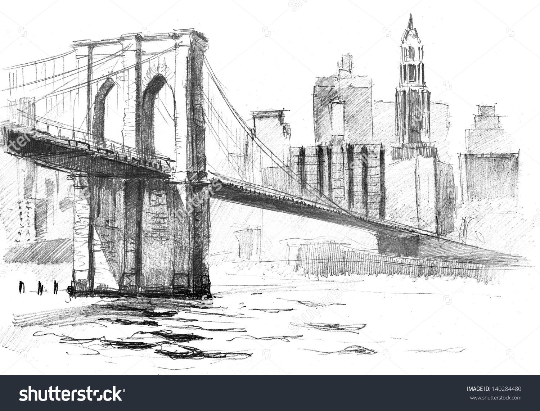 Pencil sketches of bridges. Bridge clipart easy