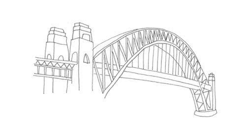 Bridge clipart easy. Line drawing of sydney
