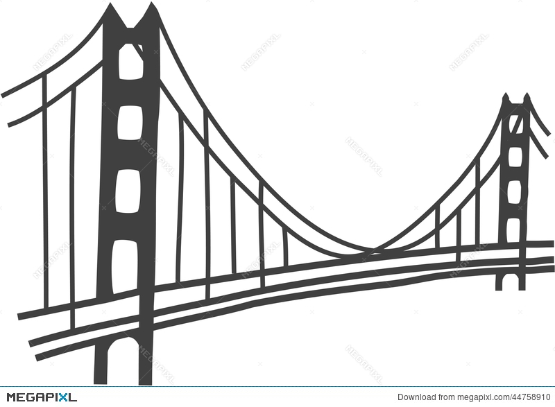 Golden gate drawing illustration. Bridge clipart easy