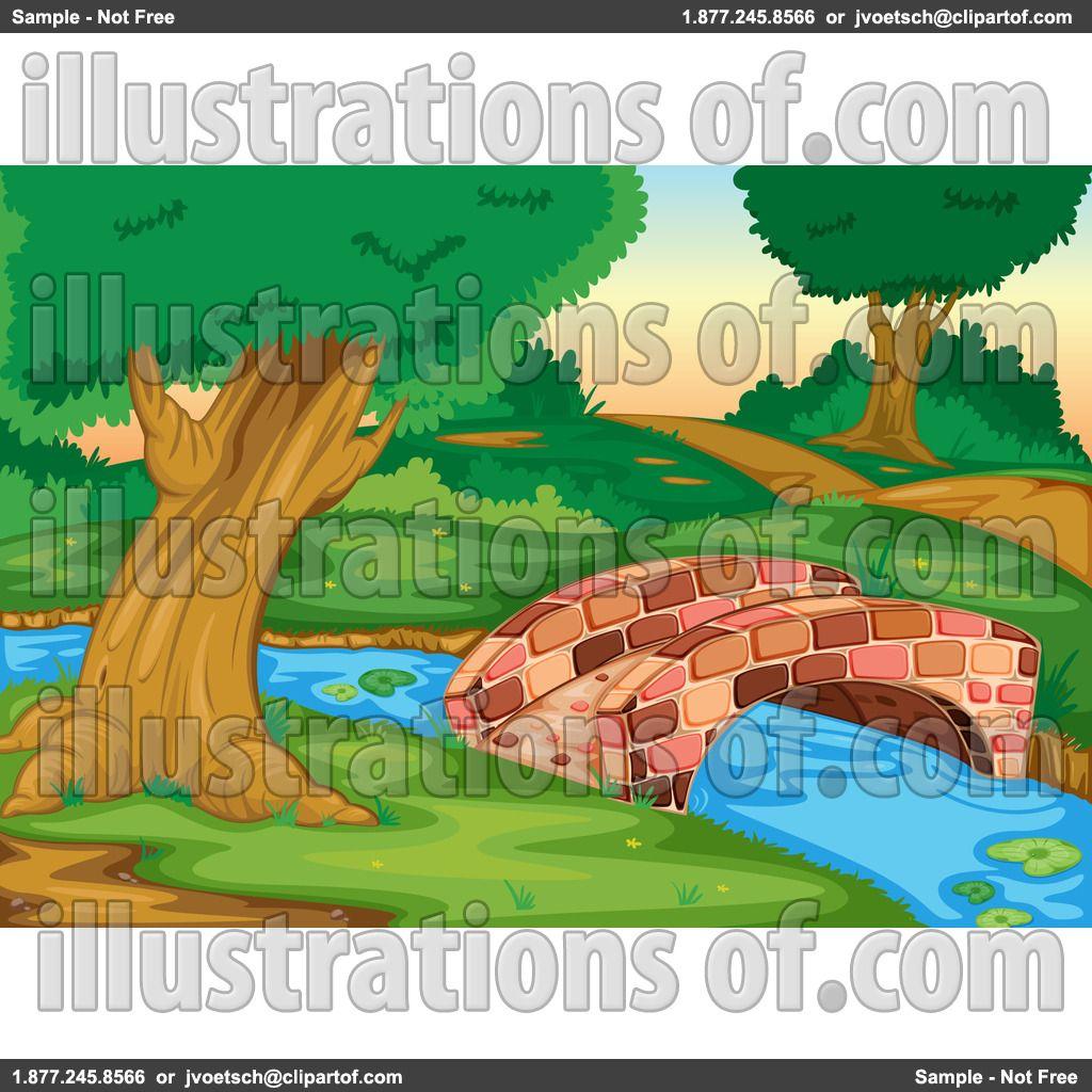 Bridge clipart footbridge. Stream clip art rf