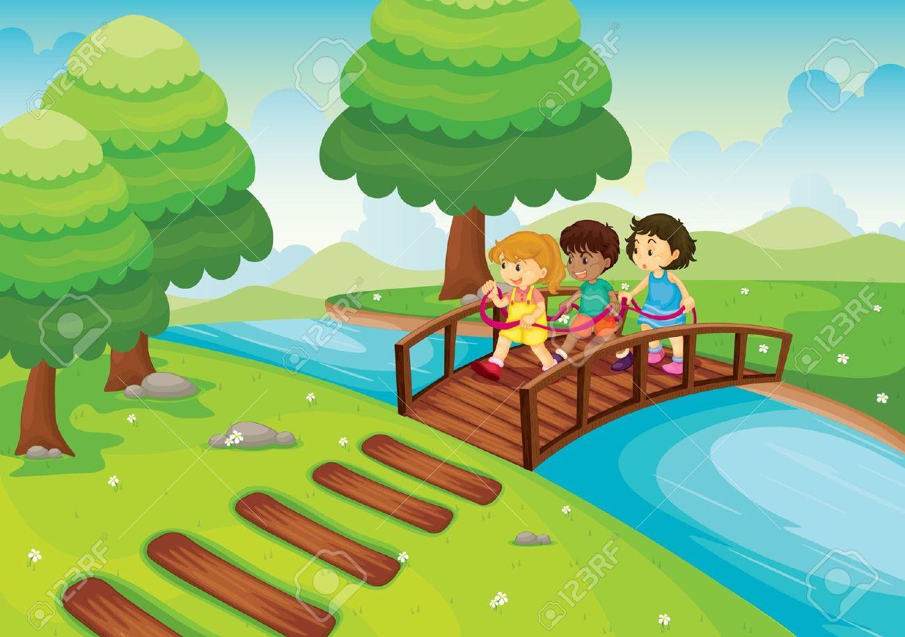 River wooden pencil and. Bridge clipart footbridge