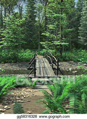 Stock illustration woodland path. Bridge clipart forest