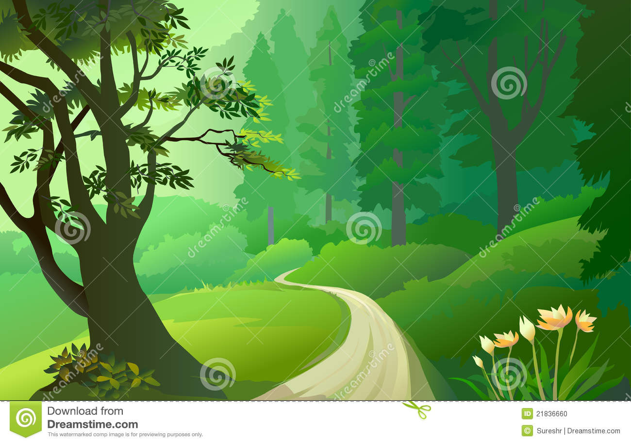 Road in the clipground. Bridge clipart forest