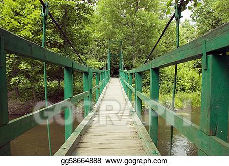 Bridge clipart forest. Stock illustration green monkey