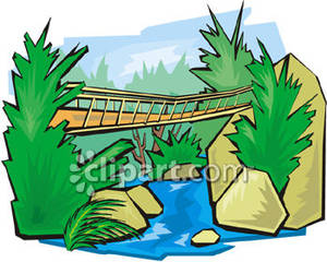 Bridge clipart forest. Rope over a jungle