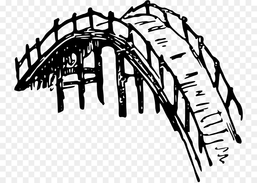 Bridge clipart line art. Tree drawing illustration text