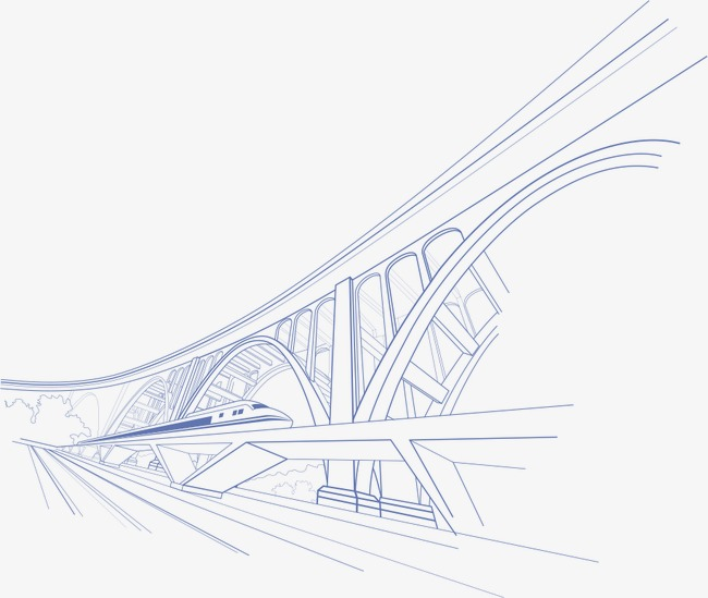Arch drawing hand painted. Bridge clipart line art