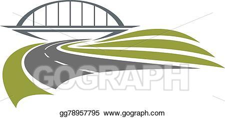 Bridge clipart line art. Vector stock road under