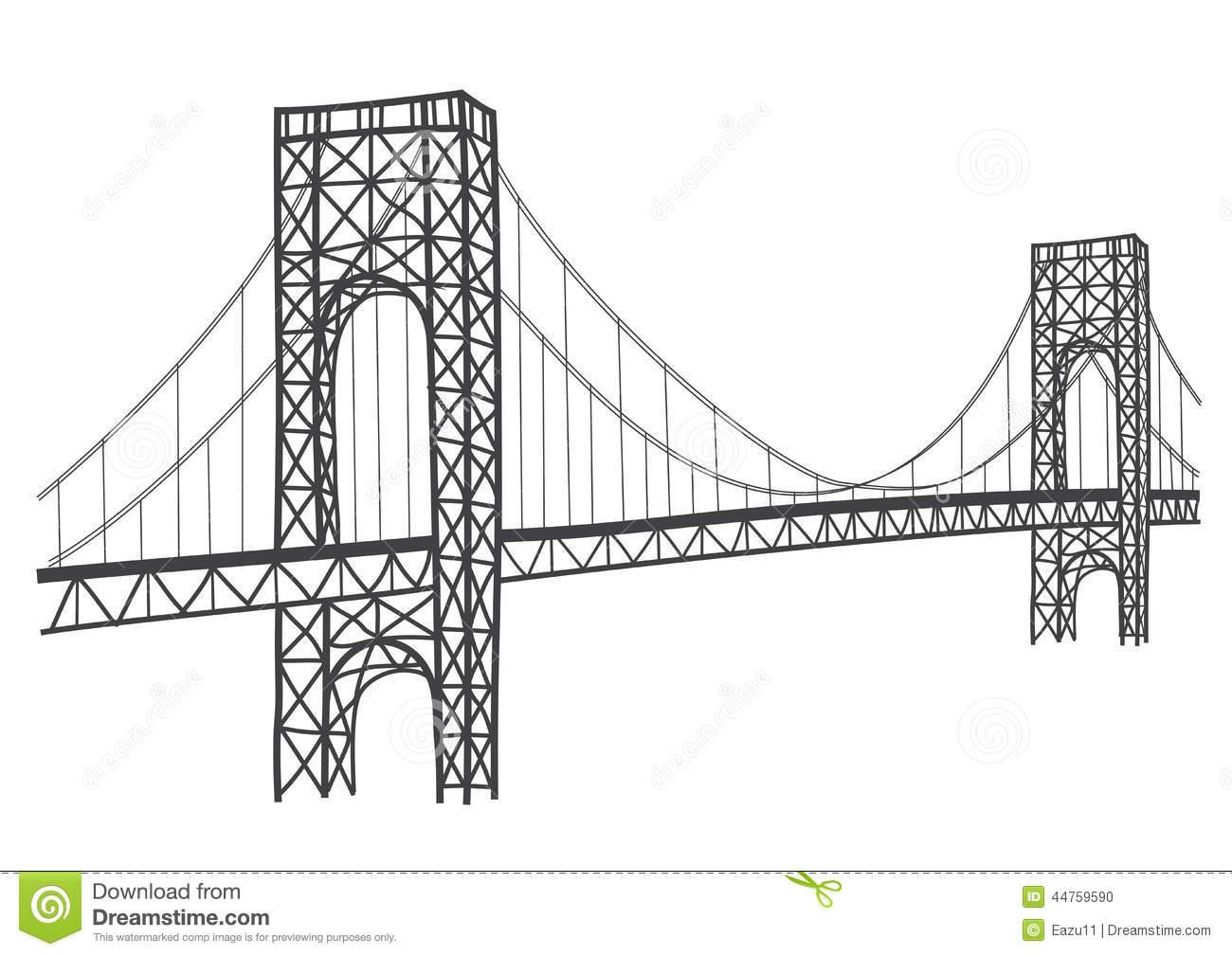 George washington . Bridge clipart line art