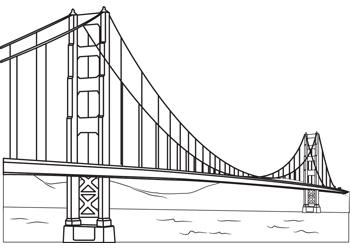 Activities golden gate b. Bridge clipart outline