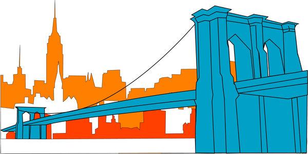 Brooklyn silhouette clip art. Bridge clipart outline