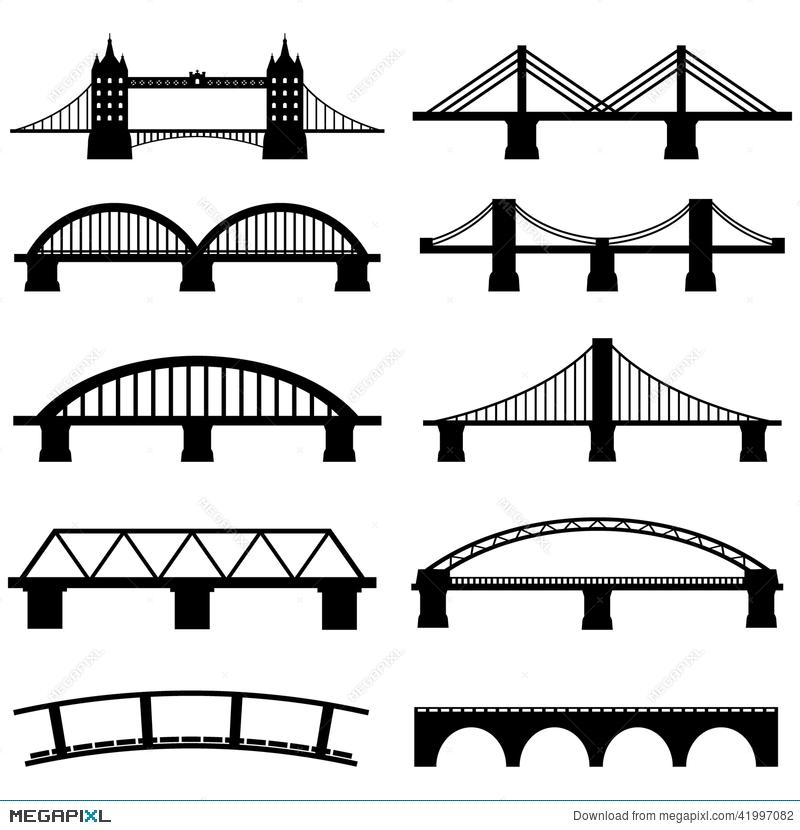 Bridge clipart side view. Icons set illustration megapixl