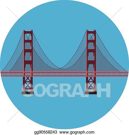 Vector golden gate illustration. Bridge clipart side view